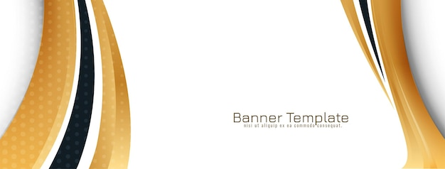 Abstract golden wave style design banner template vector