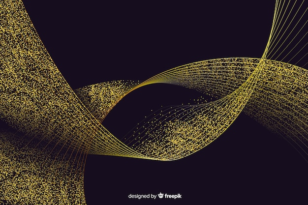 Abstract golden wavy decorative background