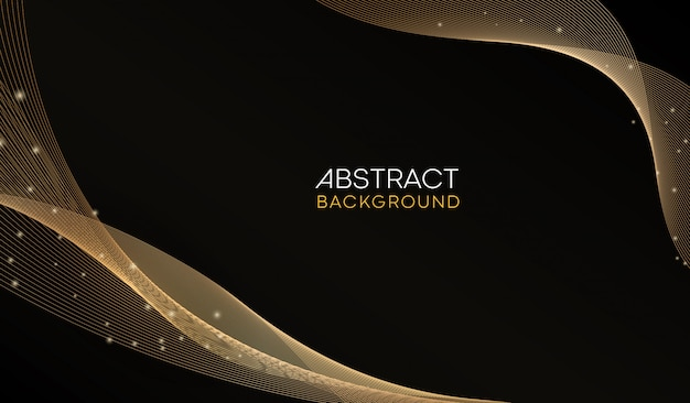 Abstract golden wavy shiny golden decorative lines background