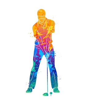 Abstract golf player from splash of watercolors.