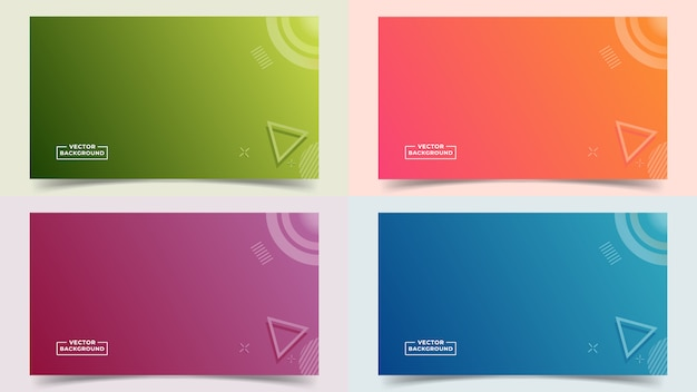 Abstract gradient background set full colors and lines in a beautiful combination