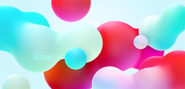 色とりどりのモーフィング有機形状と抽象的なグラデーションの背景