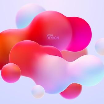 色とりどりの有機ブロブ雲の形と抽象的なグラデーションの背景