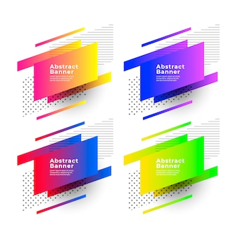Abstract gradient banners with geometric shapes