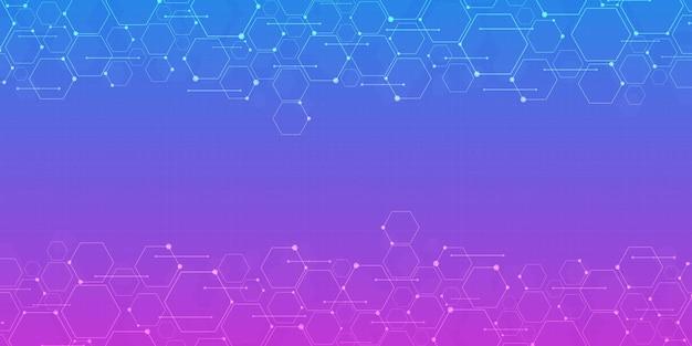 추상 그라데이션 파란색과 보라색 육각형 배경, 기술 다각형 개념, 복사 공간