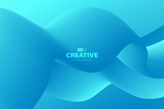 Abstract gradient blue fluid shape pattern of cover design background.
