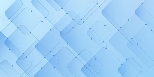 青い接続線とドットのデザインと抽象的なグラデーション青い幾何学的な正方形のオーバーラップパターン