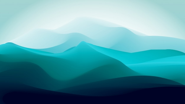 Abstract gradient blue green ice mountain