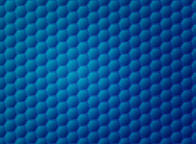 Abstract gradient blue hexagon pattern design.