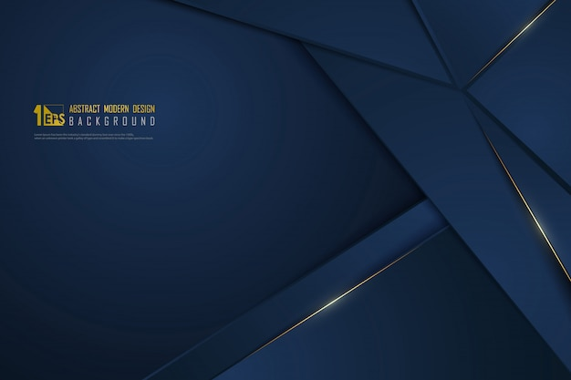 Abstract gradient blue luxury golden line template premium background.