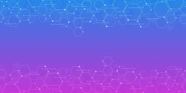 Abstract gradient blue and purple hexagon background, technology polygonal concept, copy space