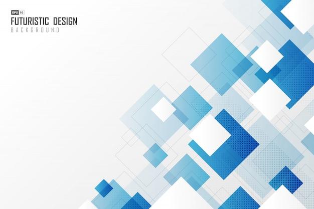 抽象的なグラデーション青い正方形技術デザイン技術の背景。