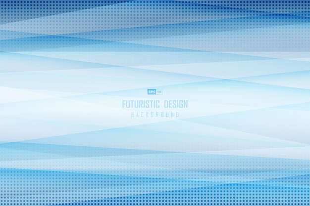 Abstract gradient blue template of tech with geometry dot halftone pattern design
