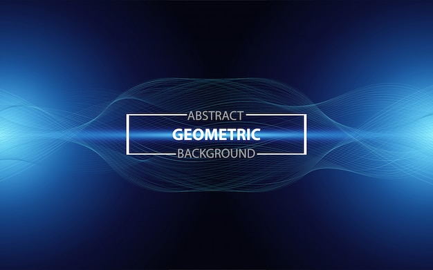 Abstract gradient blue wavy line modern science background