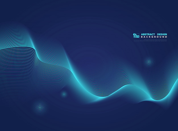 Abstract gradient blue wavy line modern science .