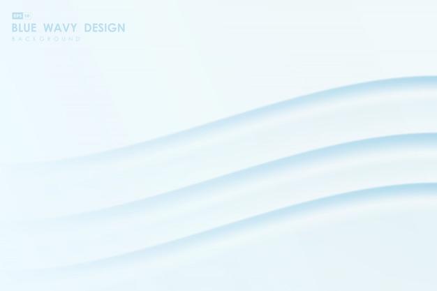 最小限のデザインアートワークの背景の抽象的なグラデーションブルーの波線パターン。