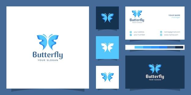デザインのインスピレーション、ロゴ、名刺テンプレートの抽象的なグラデーション蝶のロゴ