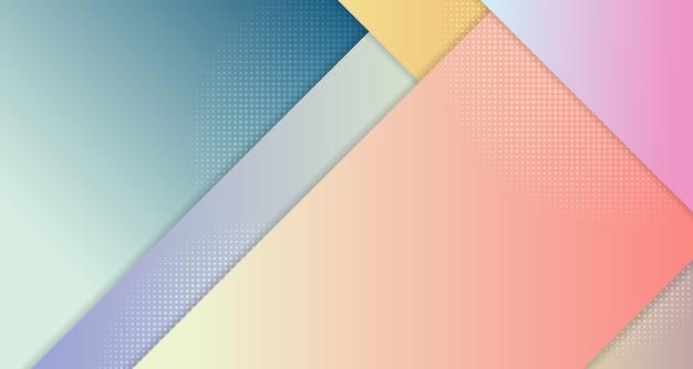 ハーフトーンデザインの背景を持つ線の抽象的なグラデーションカラーテンプレートセット