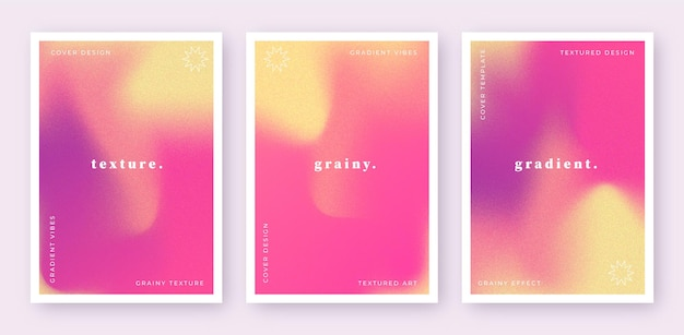Set di modelli di copertina sfumati astratti con effetto granuloso