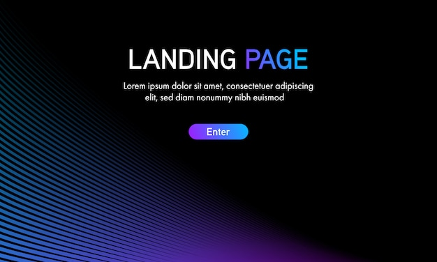 Abstract gradient curve line landing page template