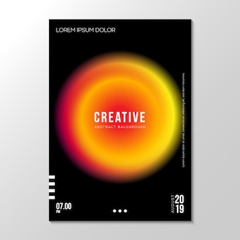 Abstract gradient fluid neon cover design template