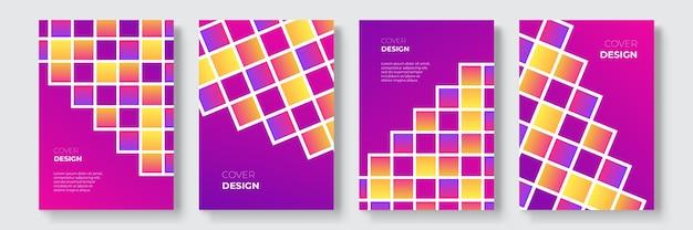抽象的なグラデーションの幾何学的なカバーデザイン、流行のパンフレットテンプレート、カラフルな未来的なポスター。ベクトルイラスト。グローバル見本