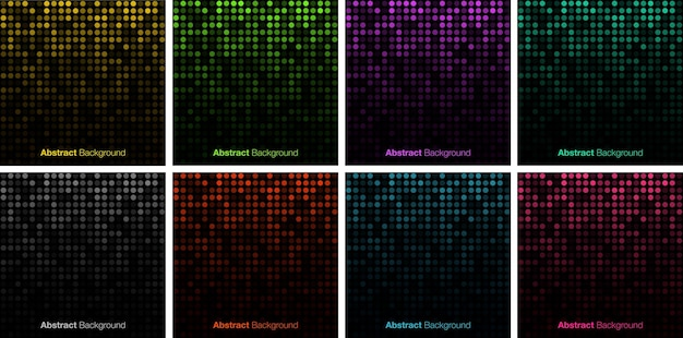 Abstract gradient glow circular dots background set glowing circle pixel pattern big data vector