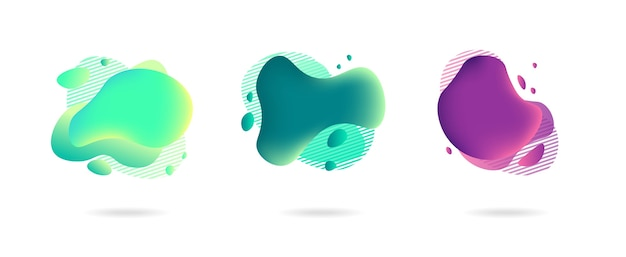Abstract gradient graphic elements in modern style. banners with flowing liquid shapes, amoeba forms.
