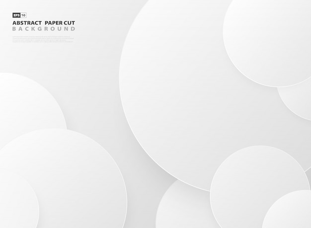 Abstract gradient gray circle pattern design paper cut template background.
