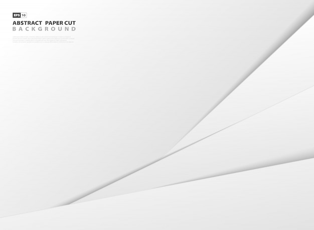 Abstract gradient gray and white paper cut style template background.