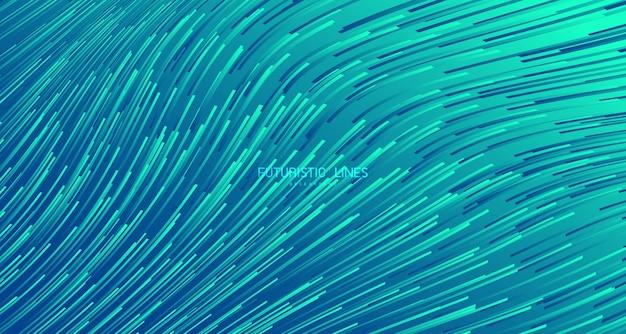 抽象的なグラデーションの緑の線パターン波状の技術デザインアートワークの背景