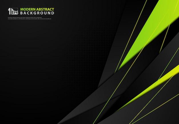 抽象的なグラデーションの緑の三角形の背景。