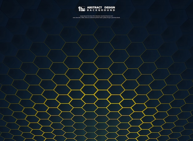 Abstract gradient hexagonal technology on yellow background