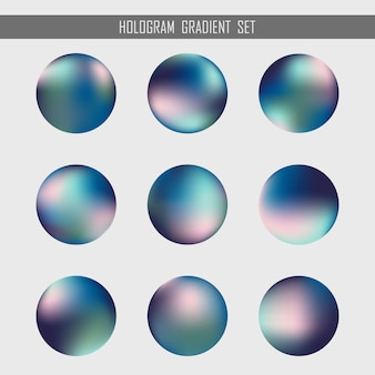 Abstract gradient hologram orb set design element background.