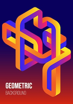 Abstract gradient isometric geometric shape design template background modern art style