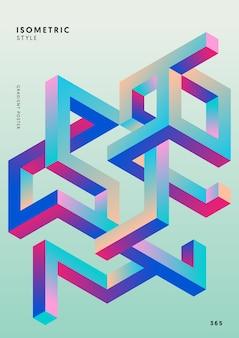 抽象的なグラデーション等尺性幾何学的形状デザインテンプレート背景現代アートスタイル。