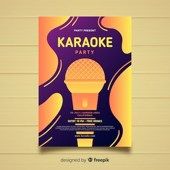 Abstract gradient karaoke poster template