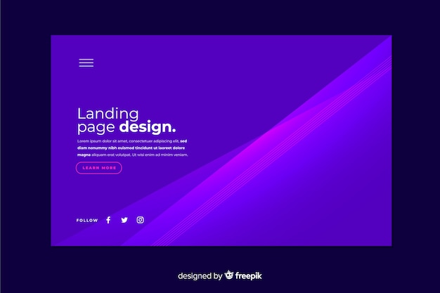 Abstract gradient landing page template