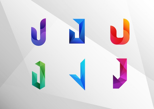 Abstract gradient letter j set