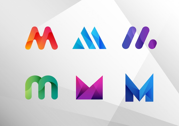 Abstract gradient letter m set