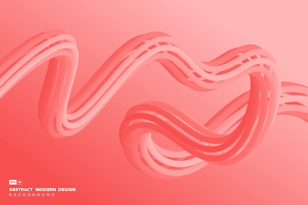 Abstract gradient living coral trendy design of wavy line artwork background.