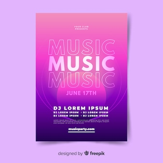 Abstract gradient music poster template