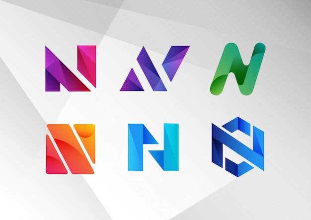 Abstract gradient n logo collection