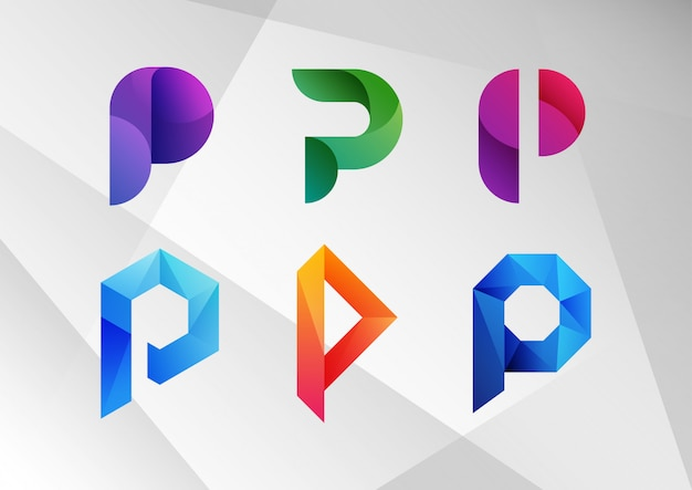 Abstract gradient p logo collection