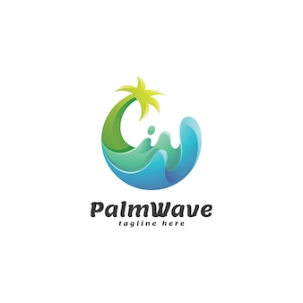 Abstract gradient palm tree and wave logo