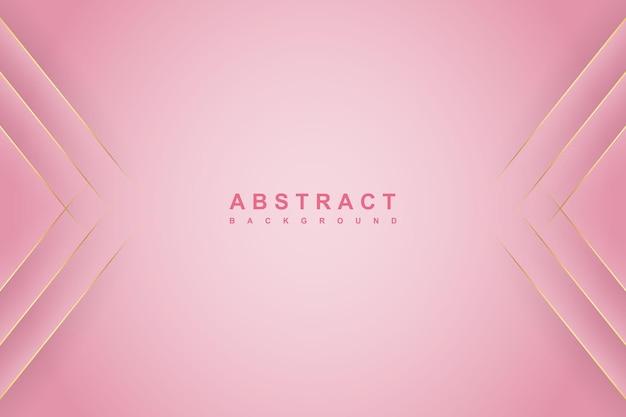 대각선 골드 라인과 그림자가 있는 추상 그라데이션 분홍색 배경