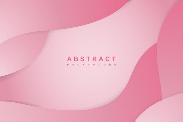 波状の層状の紙をカットした抽象的なグラデーションピンクの背景