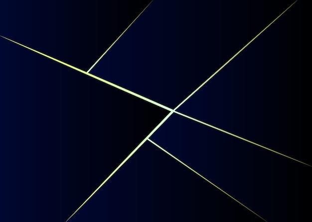 Абстрактный градиент многоугольной темно-синий с золотой линией фона.