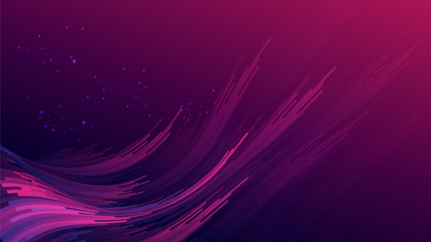 Abstract gradient purple pink curve wave stripes with glitters on gradient dark purple