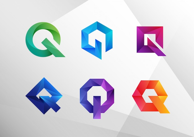 Abstract gradient q logo collection